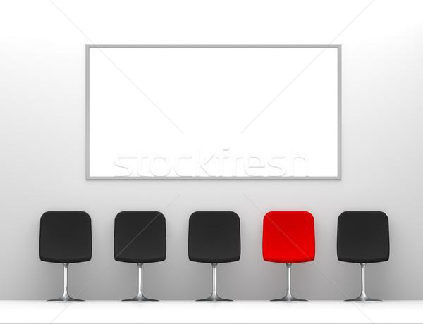 один красный Председатель четыре черный стульев Сток-фото © maxpro