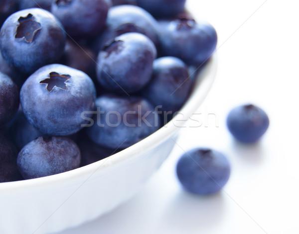 ストックフォト: ブルーベリー · 白 · ボウル · 食品