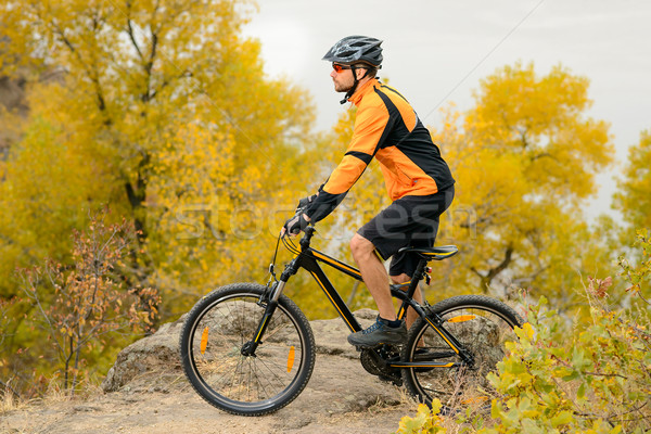 サイクリスト ライディング 自転車 美しい 秋 山 ストックフォト © maxpro