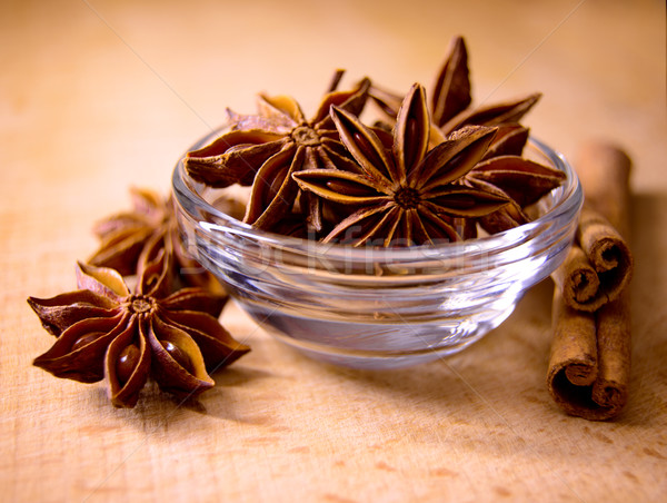 Star Anise in the Glass Bowl and Cinnamon Sticks on Wooden Table Stock photo © maxpro