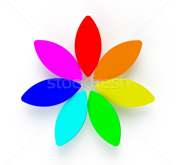 3D Abstract Rainbow Flower on White Background Stock photo © maxpro