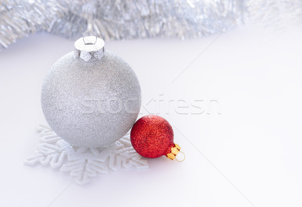 Stock photo: White and Red Christmas Balls on the White Background whith Space for Text