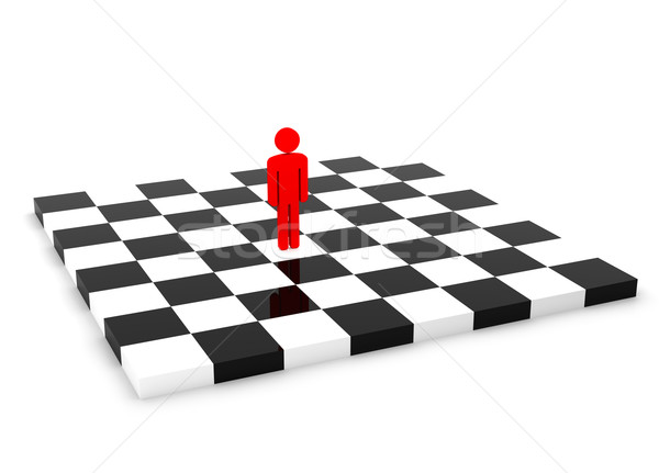 One Red Human Figure Standing Alone on the Empty Chessboard Stock photo © maxpro