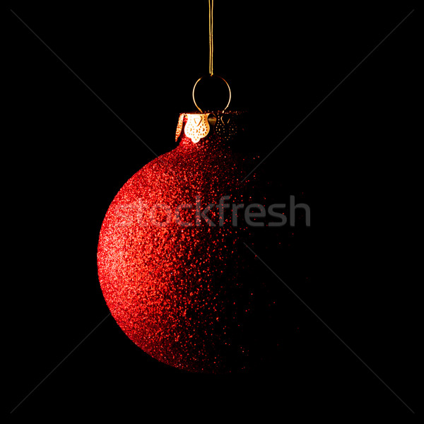 Red Christmas Ball on Black Background. Greeting Card Stock photo © maxpro