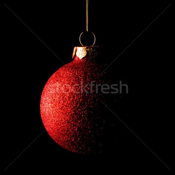 Piros karácsony labda fekete üdvözlőlap absztrakt Stock fotó © maxpro