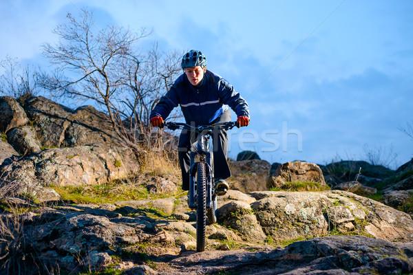 велосипедист верховая езда велосипедов тропе закат Экстрим Сток-фото © maxpro