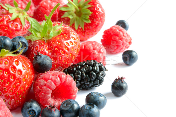 Stock photo: Big Pile of Fresh Ripe Sweet Berries on White Background