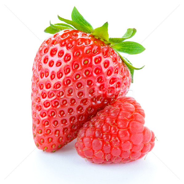 Stock photo: Sweet Strawberry and Juicy Raspberry Isolated on White Background. Summer Healthy Food Concept