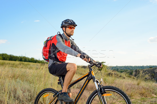 Cyclist Riding the Bike on the Beautiful Summer Mountain Trail. Sport Concept. Stock photo © maxpro
