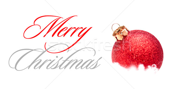 Stock photo: Christmas Decoration with Red Ball in the Snow on the White Background. Greeting Card