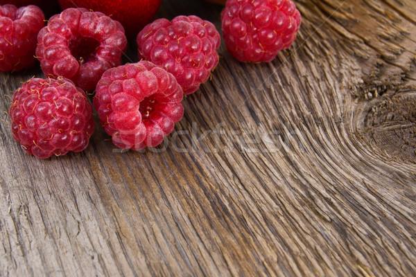 Stock photo: Fresh Ripe Sweet Raspberry on Wooden Background