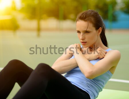 Stock photo: Young Athletic Woman Practice Morning Workout Exercises Outdoor