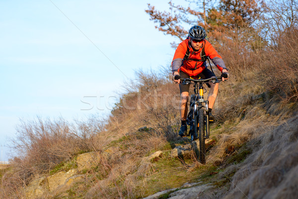 Stock photo: Enduro Cyclist Riding the Mountain Bike on the Rocky Trail. Extreme Sport Concept. Space for Text.