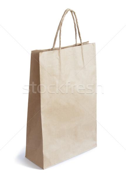 грубая оберточная бумага сумку изолированный белый копия пространства бумаги Сток-фото © maxpro