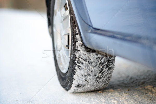 Close-up Image of Winter Car Tire on Snowy Road. Drive Safe Concept. Stock photo © maxpro