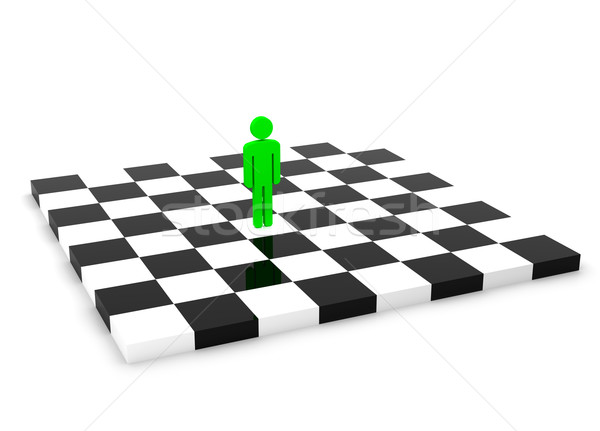 One Green Human Figure Standing Alone on the Empty Chessboard Stock photo © maxpro