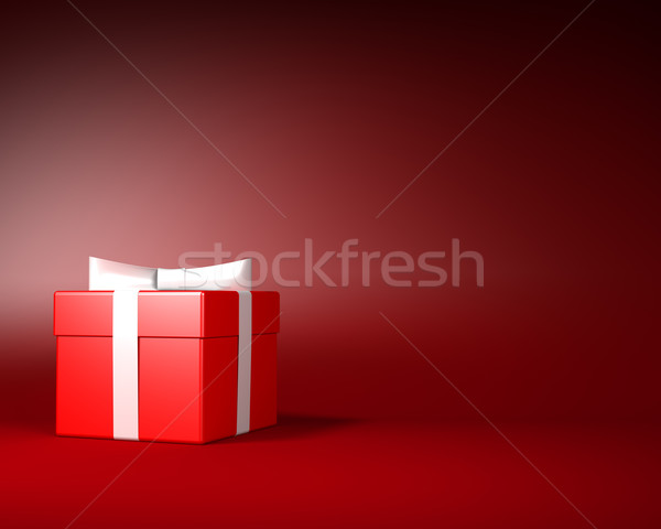 Red Gift Box with White Ribbon and Bow on the Red Background Stock photo © maxpro
