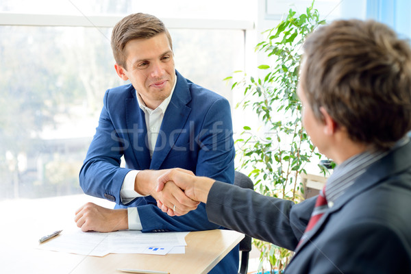 Stock photo: Business People Shaking Hands after Signing Contract. Business Partnership Concept