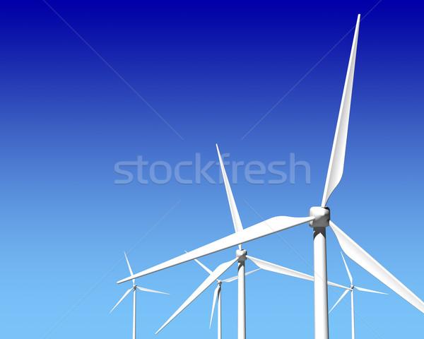 Rüzgâr jeneratör mavi gökyüzü yeşil yenilenebilir enerji manzara Stok fotoğraf © maxpro