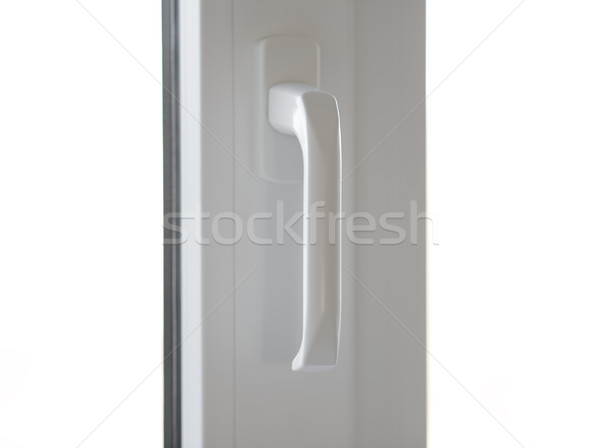 Stock photo: White Window Frame with Handle Isolated on White Background