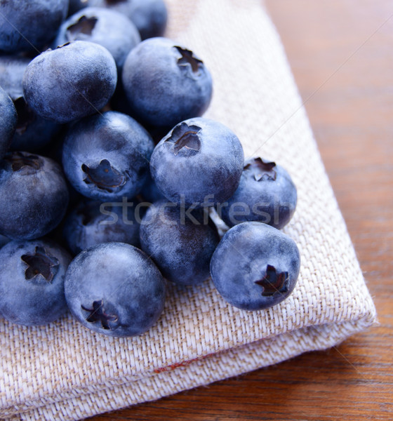 Stock photo: Closeup Image of Blueberries on the Fabric Serviette