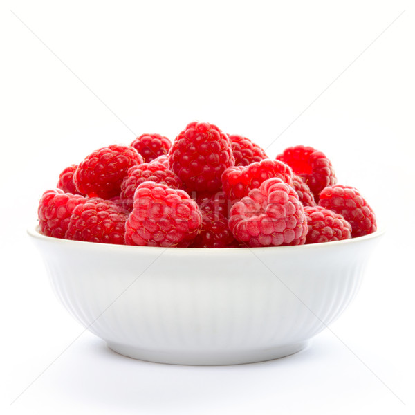 Big Pile of Fresh Raspberries in the Bowl Isolated on Whitу Stock photo © maxpro