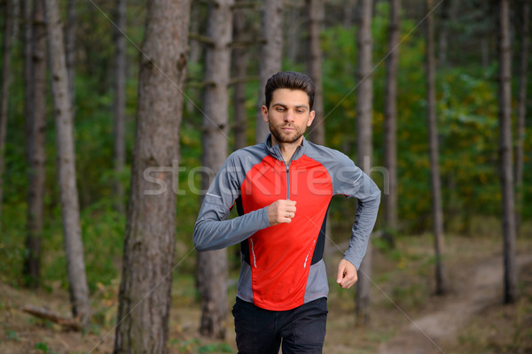 Stock photo: Young Man Running on the Trail in the Wild Pine Forest. Active Lifestyle