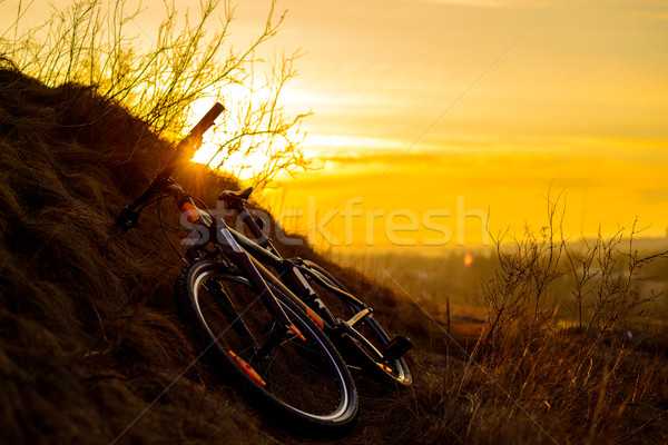 Mountain Bike on the Rocky Trail at Sunset. Extreme Sport Concept. Space for Text. Stock photo © maxpro
