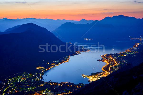 Stock photo: Bay of Kotor at Night. Panorama of Boka-Kotorska bay. Aerial View of Kotor Town, Montenegro.