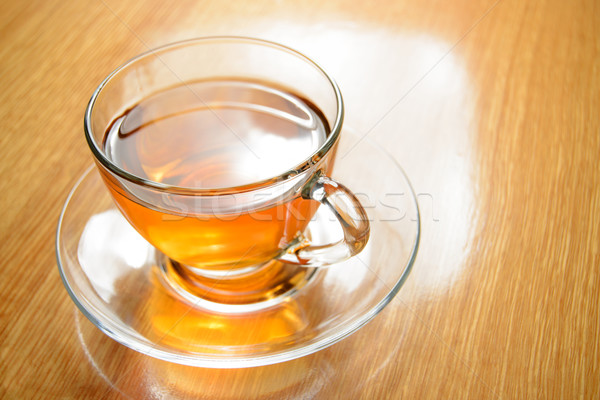 Glass Cup of Green Tea on the Wooden Table Stock photo © maxpro