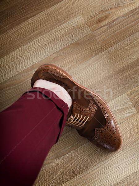 Sockless leg in pants and brogue Stock photo © maxsol7