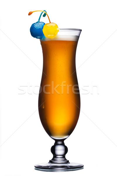 Koktajl huragan szkła odznaczony żółty niebieski Zdjęcia stock © maxsol7