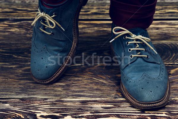Mavi ayakkabı bağbozumu Stok fotoğraf © maxsol7