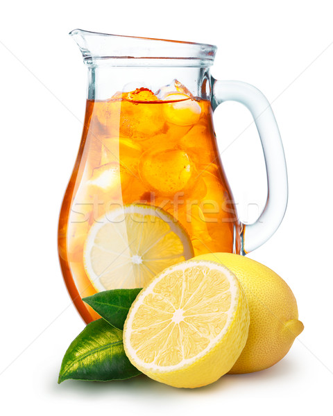 Ice tea kancsó tele limonádé citromok előtér Stock fotó © maxsol7