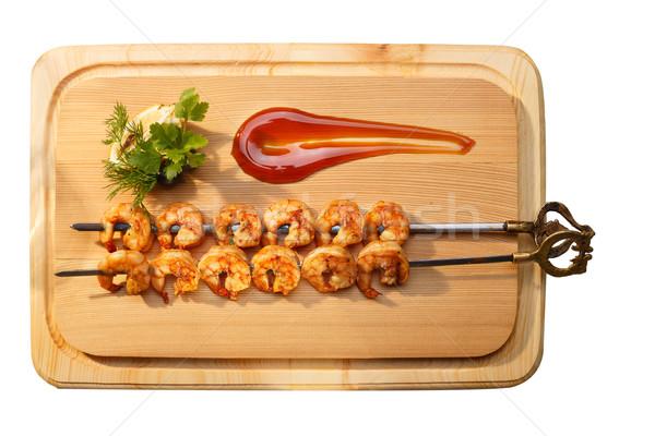Grillezett elegáns díszített pázsit mártás garnéla Stock fotó © maxsol7