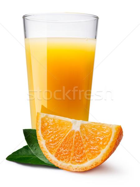 Glas vers sinaasappelsap orange slice voorgrond apart Stockfoto © maxsol7