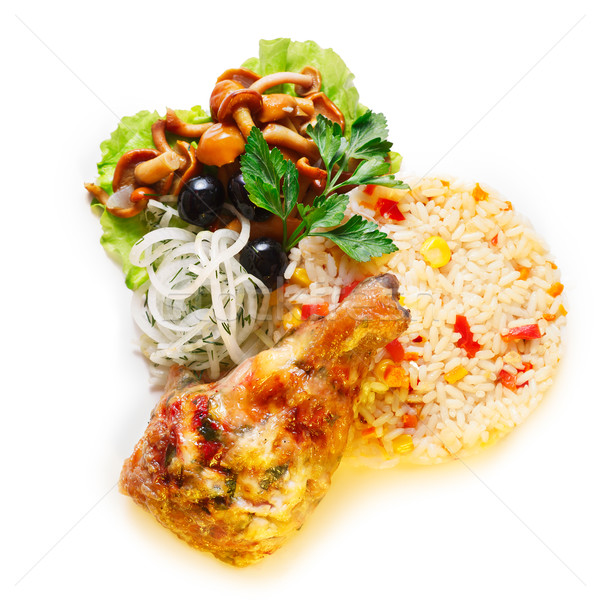 Fried chicken with rice Stock photo © maxsol7