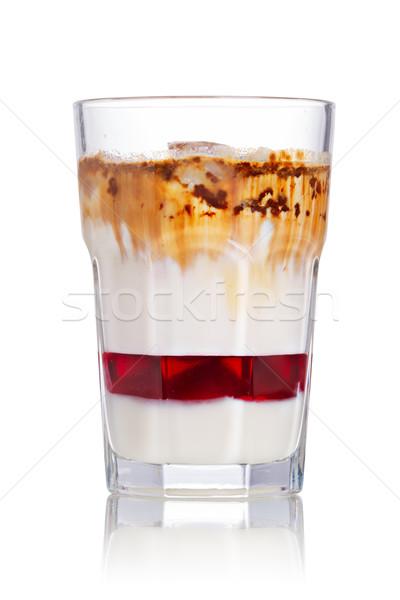 Foto stock: Gelado · morango · xarope · leite