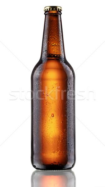 Escuro completo marrom garrafa cerveja Foto stock © maxsol7