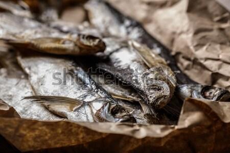 Aszalt hal fa asztal szelektív fókusz keskeny Stock fotó © maxsol7