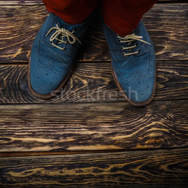 Mavi ayakkabı üst görmek Stok fotoğraf © maxsol7