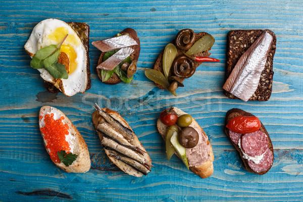 Open sandwiches variety Stock photo © maxsol7