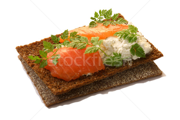 Bread crisp with salmon, soft cheese and chervil Stock photo © maxsol7