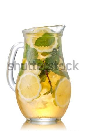 Chá gelado jarro doce gelado chá verde limão Foto stock © maxsol7