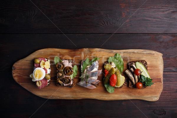 Smorrebrod-open sandwiches Stock photo © maxsol7