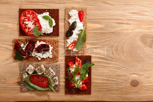 Crispbread open-faced sandwiches Stock photo © maxsol7