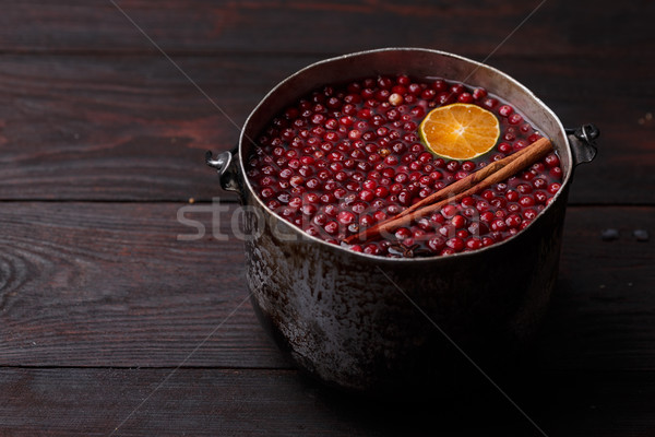 Foto stock: Mandarim · vinho · romã · rústico