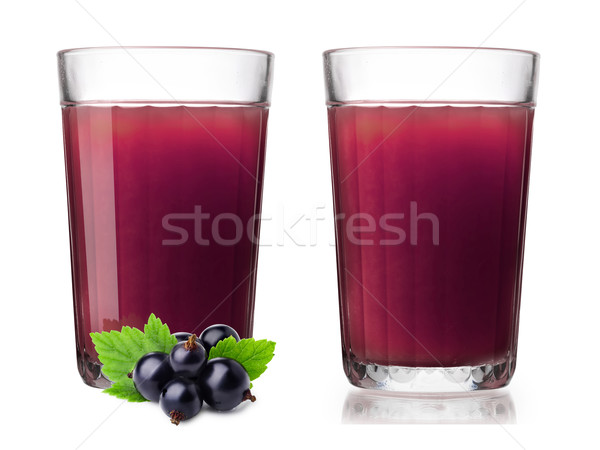Glasses with fresh blackcurrant smoothie Stock photo © maxsol7