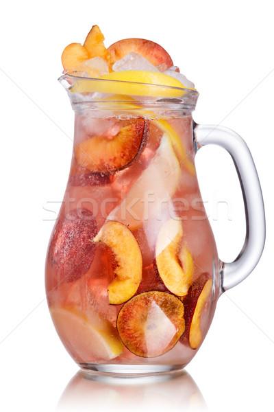 Barack limonádé szénsavas kerék citromszelet kancsó Stock fotó © maxsol7