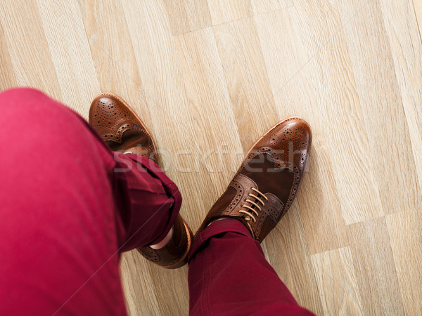 Sockless legs in pants and brogue Stock photo © maxsol7